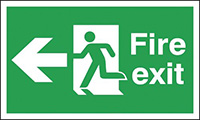 Fire exit left sign  150x450mm 3mm Foamed Rigid Plastic Safety Sign