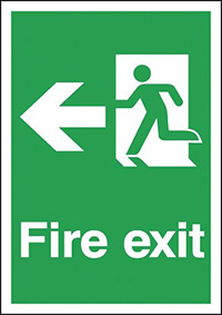 Fire Exit Running Man Left  297x210mm 1.2mm Rigid Plastic Safety Sign