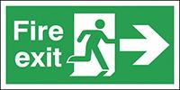 Fire Exit Running Man Arrow Right  150x300mm  0.9mm Aluminium Safety Sign