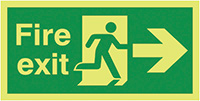 Fire Exit Running Man Arrow Right  150x300mm 1.2mm Nite Glo Rigid Safety Sign