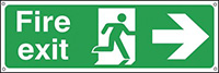 Fire Exit Running Man Arrow Right  150x450mm 0.9mm Aluminium Safety Sign