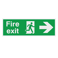 Fire Exit Running Man Arrow Right  150x450mm 1.2mm Nite Glo Rigid Safety Sign