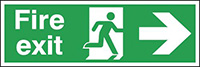 Fire exit right  sign  150x450mm Anodised Aluminium Safety Sign