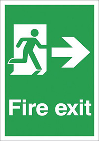 Fire Exit Running Man Right  297x210mm 1.2mm Rigid Plastic Safety Sign