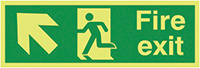 Fire Exit Running Man Arrow Up Left  150x300mm 1.2mm Xtra Glo Rigid Plastic Safety Sign