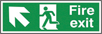 Fire Exit Running Man Arrow Up Left  150x300mm 1.2mm Rigid Plastic Safety Sign