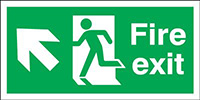 Fire Exit Running Man Arrow Up Left  300x600mm Self Adhesive Vinyl Safety Sign