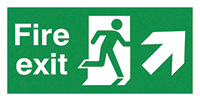 Fire Exit Running Man Arrow Up Right  150x300mm 1.2mm Rigid Plastic Safety Sign