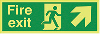 Fire Exit Running Man Arrow Up Right  150x300mm 1.2mm Xtra Glo Rigid Plastic Safety Sign