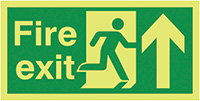 Fire Exit Running Man Arrow Up  150x300mm 1.2mm Nite Glo Rigid Safety Sign