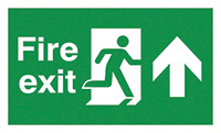 Fire Exit Running Man Arrow Up  150x300mm 2mm Polycarbonate Safety Sign