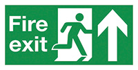 Fire Exit Running Man Arrow Up  150x300mm 1.2mm Rigid Plastic Safety Sign