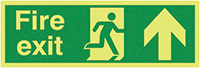 Fire Exit Running Man Arrow Up  150x450mm 1.2mm Nite Glo Rigid Safety Sign