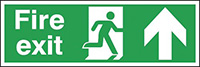 Fire Exit Running Man Arrow Up  150x450mm 1.2mm Rigid Plastic Safety Sign