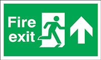 Fire Exit Running Man Arrow Up  300x600mm 1.2mm Rigid Plastic Safety Sign