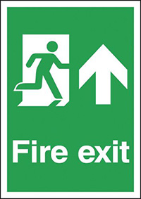 Fire Exit Running Man Up  297x210mm 1.2mm Rigid Plastic Safety Sign