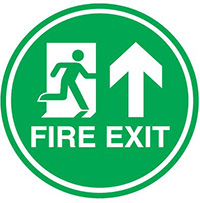 Fire Exit  450mm Self Adhesive Vinyl Safety Sign