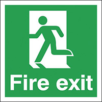 Fire Exit Running Man Left  150x150mm 1.2mm Rigid Plastic Safety Sign