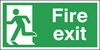 Fire Exit Running Man Left  150x300mm 1.2mm Rigid Plastic Safety Sign