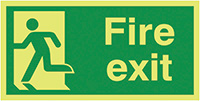 Fire Exit Running Man Left  300x600mm Nite Glo Self Adhesive Vinyl Safety Sign