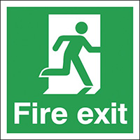 Fire Exit Running Man Right  150x150mm 1.2mm Rigid Plastic Safety Sign