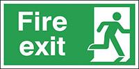 Fire Exit Running Man Right  150x300mm 0.9mm Aluminium Safety Sign