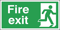 Fire Exit Running Man Right  150x300mm 1.2mm Rigid Plastic Safety Sign