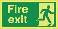 Fire Exit Running Man Right  150x300mm 1.2mm Nite Glo Rigid Safety Sign