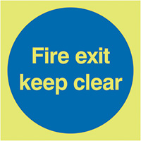 Fire Exit Keep Clear  150x150mm 1.2mm Nite Glo Rigid Safety Sign