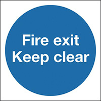 Fire Exit Keep Clear 150x150mm 1.2mm Rigid Plastic Safety Sign