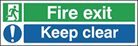 Fire Exit Keep Clear  150x450mm 1.2mm Rigid Plastic Safety Sign