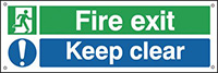 Fire Exit Keep Clear  150x450mm 0.9mm Aluminium Safety Sign