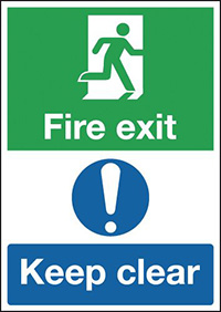 Fire Exit Keep Clear  297x210mm 1.2mm Rigid Plastic Safety Sign