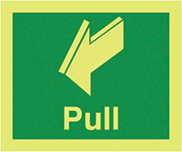 Pull  150x125mm Nite Glo Self Adhesive Vinyl Safety Sign