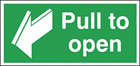 Pull To Open  50x100mm 1.2mm Rigid Plastic Safety Sign