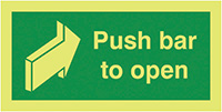 Push Bar To Open 100x200mm 1.2mm Xtra Glo Rigid Plastic Safety Sign