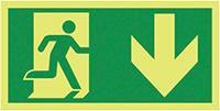 Running Man Arrow Down  150x300mm 1.2mm Nite Glo Rigid Safety Sign