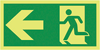 Running Man Arrow Left  150x300mm 1.2mm Nite Glo Rigid Safety Sign