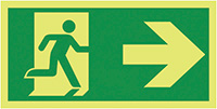 Running Man Arrow Right  150x300mm 1.2mm Nite Glo Rigid Safety Sign