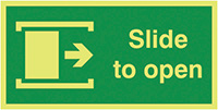Slide To Open Right  100x200mm 1.2mm Nite Glo Rigid Safety Sign