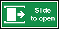 Slide To Open Right  200x400mm 1.2mm Rigid Plastic Safety Sign