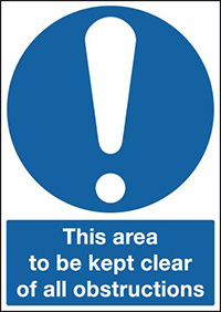 This Area To Be Kept Clear Of All Obstructions 210x148mm 1.2mm Rigid Plastic Safety Sign