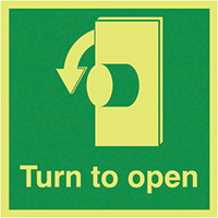 Turn To Open Anti-Clockwise  125x125mm 1.2mm Nite Glo Rigid Safety Sign