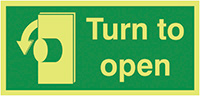 Turn To Open Anti-Clockwise  50x100mm 1.2mm Nite Glo Rigid Safety Sign