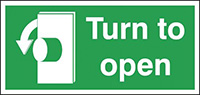 Turn To Open Anti-Clockwise  50x100mm 1.2mm Rigid Plastic Safety Sign