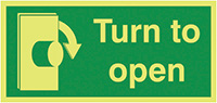 Turn To Open Clockwise  50x100mm Nite Glo Self Adhesive Vinyl Safety Sign