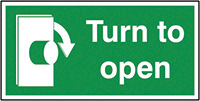 Turn To Open Clockwise  50x100mm 1.2mm Rigid Plastic Safety Sign