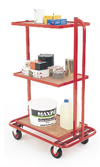 3 Tier trolley with fixed tiers and drop in plywood shelves