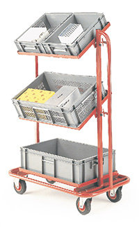 3 Tier trolley with 2 upper tiers able to tilt. To fit 3 x drop in containers