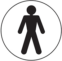Male symbol  100mm Acrylic Safety Sign